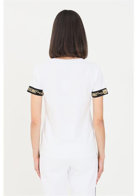 T-shirt donna bianco moschino a manica corta con rifiniture oro MOSCHINO | T-shirt | A191590100001