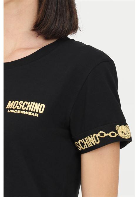 T-shirt donna nero moschino a manica corta con rifiniture oro MOSCHINO | T-shirt | A191590100555