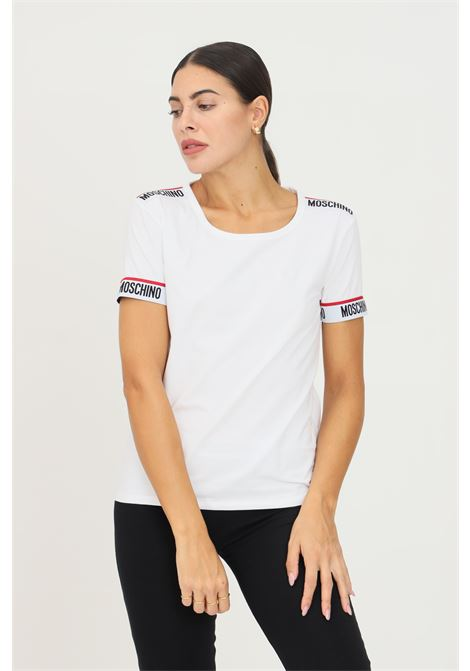 White women's t-shirt by moschino with elastic logo band on the bottom sleeve MOSCHINO | T-shirt | A191890030001