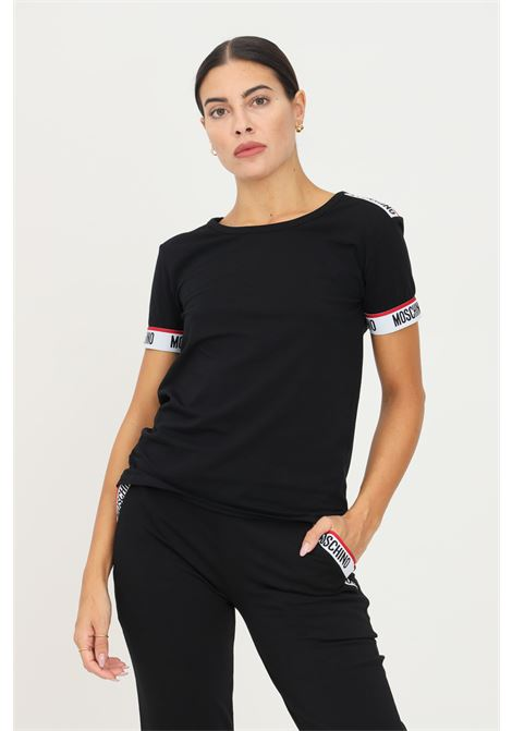 Black women's t-shirt by moschino with elastic logo band on the bottom sleeve MOSCHINO | T-shirt | A191890030555