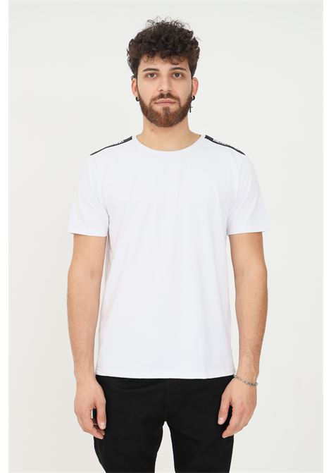 White unisex t-shirt by moschino with logo band on the sleeves, short sleeve MOSCHINO | T-shirt | A193181360001