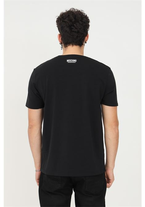 Black unisex t-shirt by moschino with logo band on the sleeves, short sleeve MOSCHINO | T-shirt | A193181360555