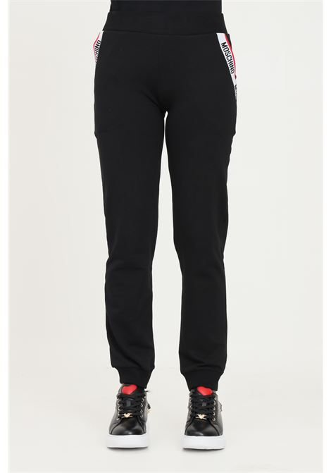 Black women's trousers by moschino, casual model with logo band on the pockets MOSCHINO | Pants | A430490040555