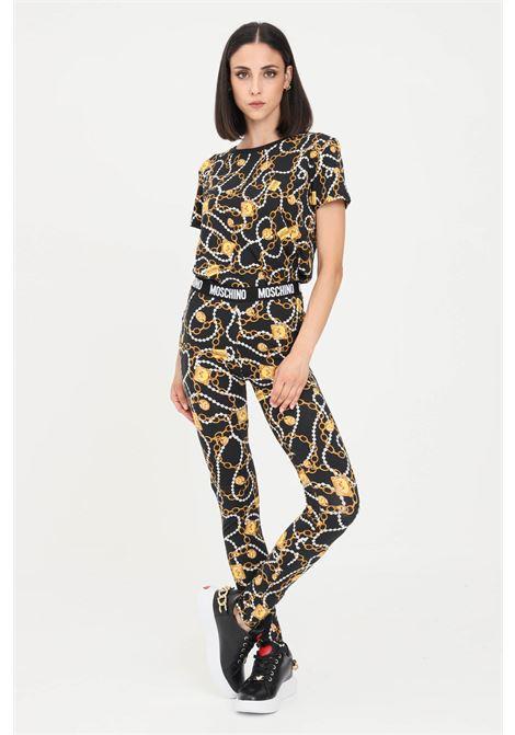 Black leggings by moschino with elastic logo band MOSCHINO | Leggings | A430790091555
