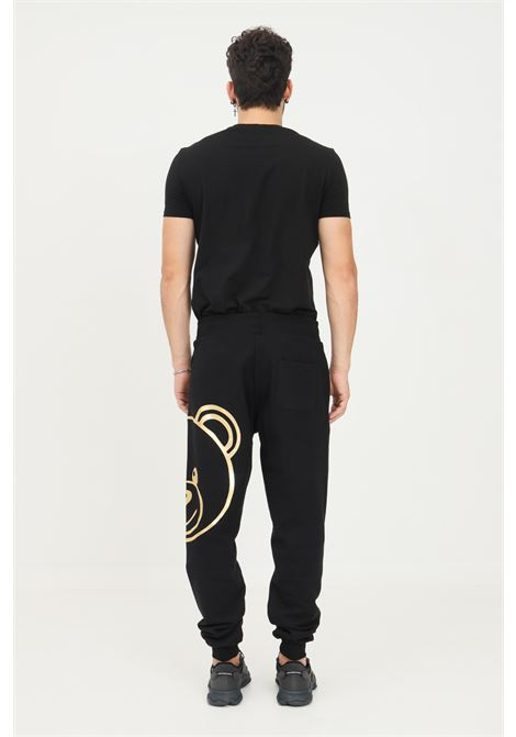 Black men's trousers by moschino, casual model with gold bear print MOSCHINO   Pants   A430881130555