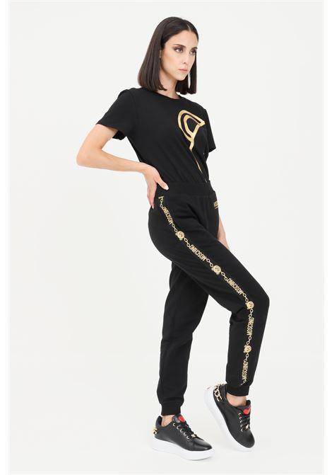 Pantaloni donna nero moschino con rifiniture glitter in oro MOSCHINO | Pantaloni | A431790110555