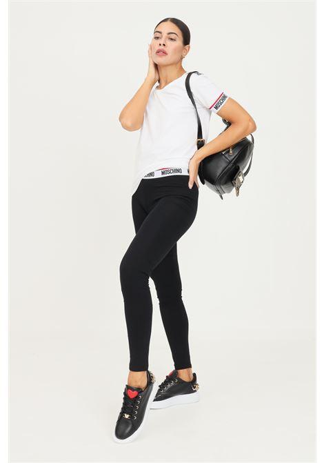 Black leggings by moschino with elastic logo waistband MOSCHINO | Leggings | A432790030555