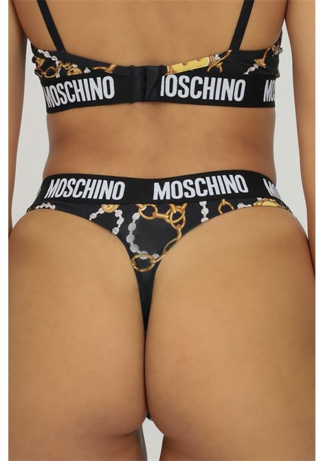 Printed women's thong by moschino with elastic band and contrasting logo MOSCHINO | Thong | A471890091555