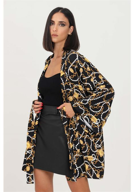 Black women's cardigan by moschino with allover print and belt at the waist  MOSCHINO | Cardigan | A520190021555