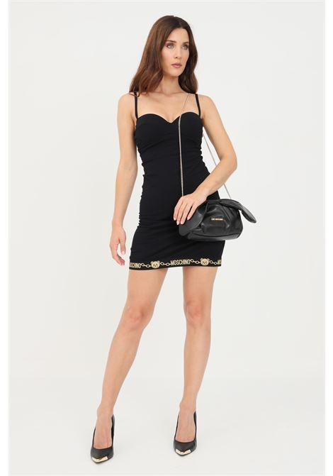 Black women's dress with heart neckline by moschino MOSCHINO   Dress   A540390030555