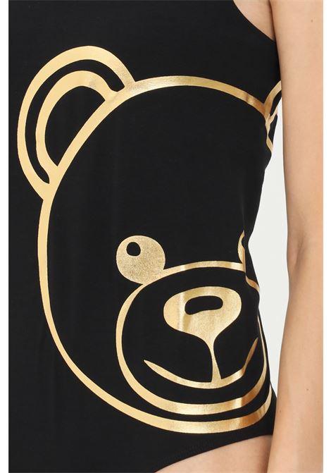 Body donna nero moschino con rifiniture glitter oro MOSCHINO | Body | A600490100555