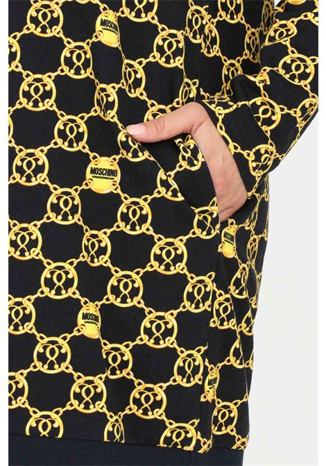 Abito fantasia nero oro moschino corto con banda elastica sul fondo MOSCHINO | Abiti | V172790285606