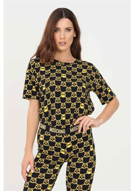 Black gold women's t-shirt short sleeve by moschino MOSCHINO   T-shirt   V191990275606