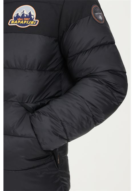 Black men's down jacket by napapijri with logo patch on the front, quilted effect NAPAPIJRI | Jacket | NP0A4FLM04110411