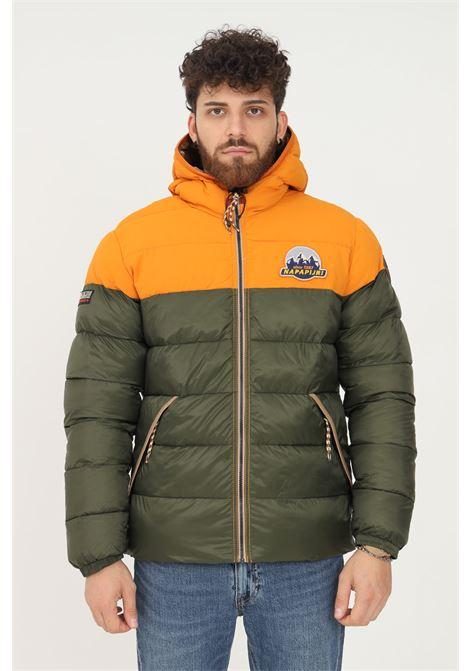 Green men's down jacket by napapijri with fixed hood and drawstring NAPAPIJRI | Jacket | NP0A4FLMGE41GE41