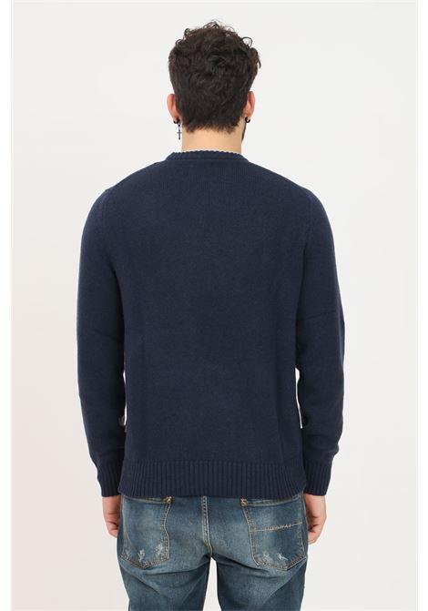 Blue men's sweater by napapijri, crew-neck hem in contrast NAPAPIJRI | Knitwear | NP0A4FMA17611761