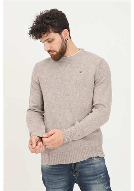 Beige men's sweater by napapijri, crew-neck hem in contrast NAPAPIJRI | Knitwear | NP0A4FMANC21NC21