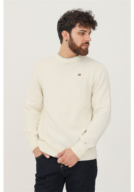 Cream men's sweater by napapijri with contrasting crew neck NAPAPIJRI | Knitwear | NP0A4FMANS51NS51