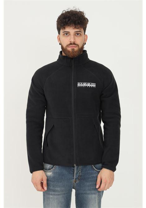Black men's sweatshirt by napapijri with zip on the front and front logo embroidery NAPAPIJRI | Sweatshirt | NP0A4FPE04110411