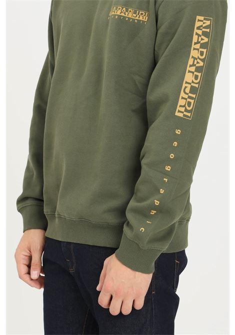 Felpa uomo verde napapijri modello girocollo con stampa logo a contrasto NAPAPIJRI | Felpe | NP0A4FQJGE41GE41