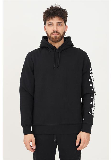 Black men's hoodie by napapijri with contrasting logo print NAPAPIJRI | Sweatshirt | NP0A4FQM04110411