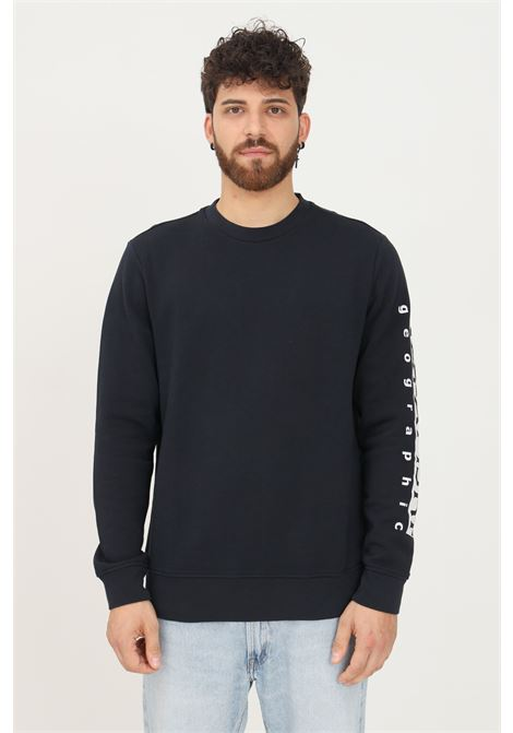Blue men's sweatshirt by napapijri crew neck model with contrasting logo print on the sleeve NAPAPIJRI | Sweatshirt | NP0A4FQN17611761