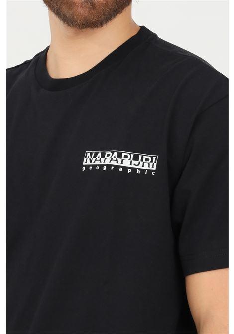 T-shirt uomo nero napapijri a manica corta con stampa a contrasto sul retro NAPAPIJRI | T-shirt | NP0A4FRB04110411
