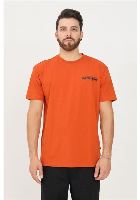 T-shirt uomo arancio napapijri a manica corta con stampa sul retro a contrasto NAPAPIJRI | T-shirt | NP0A4FRBAB11AB11