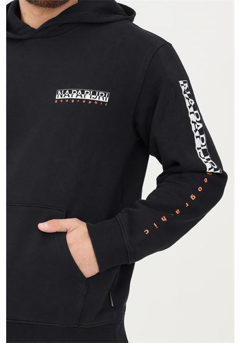 Black men's hoodie by napapijri with contrasting logo NAPAPIJRI | Sweatshirt | NP0A4FUZ04110411