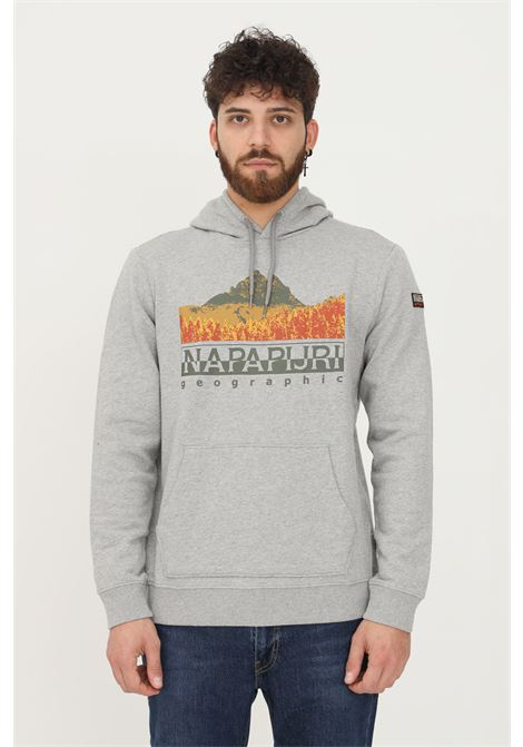 Grey men's hoodie by napapijri with print on the front NAPAPIJRI | Sweatshirt | NP0A4FVD16011601