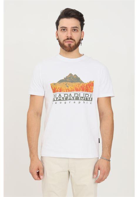 T-shirt uomo bianco napapijri a manica corta con stampa frontale NAPAPIJRI | T-shirt | NP0A4FVG00210021