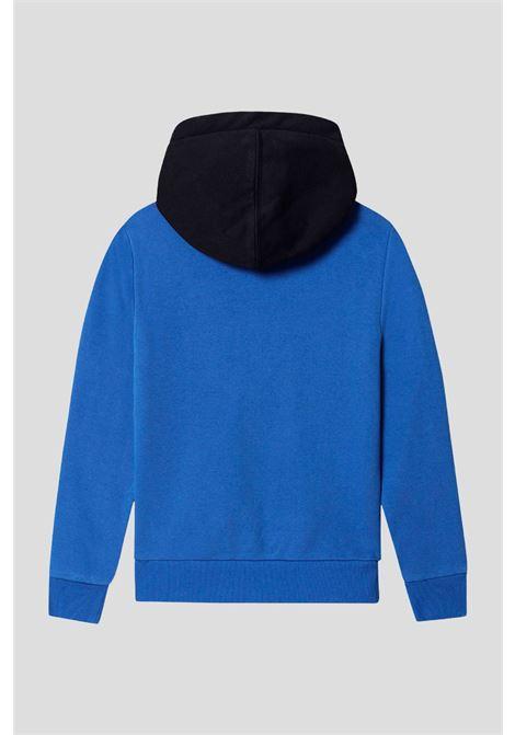 Baby blue napapijri hooded sweatshirt with front logo patch NAPAPIJRI | Sweatshirt | NP0A4FW1MAA1MAA1