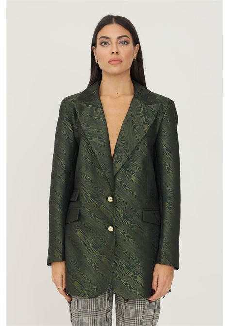 Green men's jacket with gold finishes and fake pockets on the front NBTS | Blazer | NB2122009.