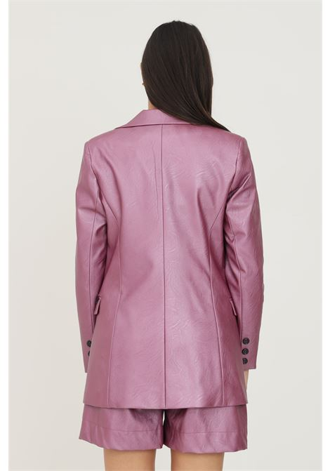 Fuchsia women's jacket in eco leather by nbts with fake pockets on the front NBTS | Blazer | NB2122032ORCHIDEA