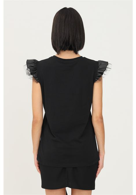Black women's t-shirt by nbts, sleeveless model with eco leather and tulle applications on the shoulders NBTS | T-shirt | NB2122039NERO