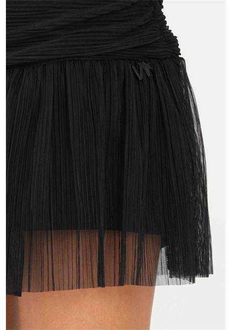 Black skirt by nbts with curls and transparencies, shorts model NBTS | Skirt | NB2122042NERO