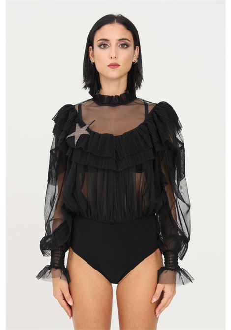 Black body by nbts, casual model with curls and transparencies NBTS | Body | NB2122055NERO