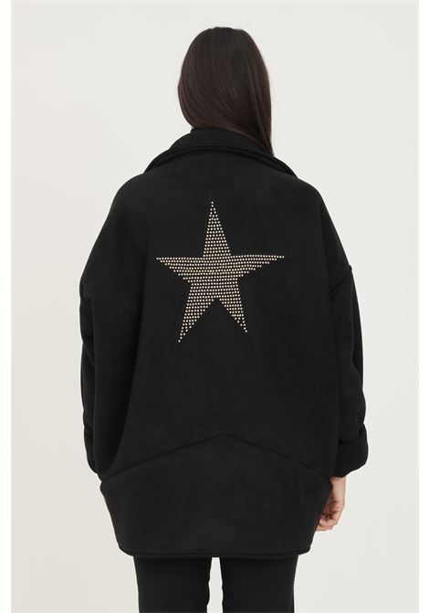 Black women's coat by nbts with strass star on the back NBTS | Coat | NB2122094.