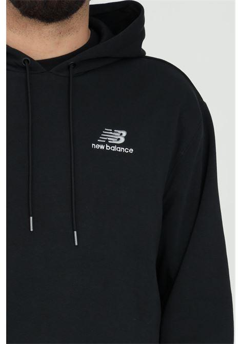 Black sweatshirt with hood and printed front logo NEW BALANCE | Sweatshirt | MT11550BKBLACK