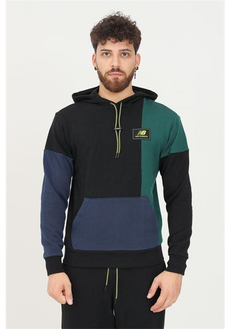 Felpa uomo nero new balance con cappuccio e patch logo frontale NEW BALANCE   Felpe   MT13504NWG335