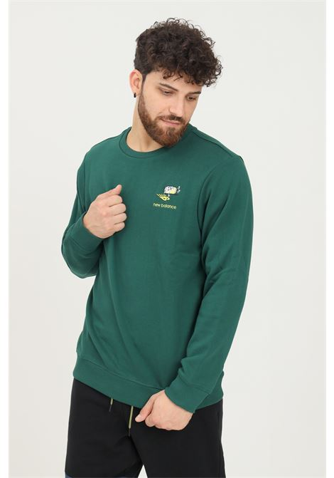 Green men's sweatshirt by new balance, crew neck model with front embroidery NEW BALANCE | Sweatshirt | MT13572NWG335