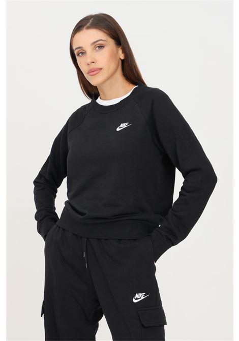 Felpa donna nero nike a girocollo con mini logo a contrasto NIKE | Felpe | BV4110010