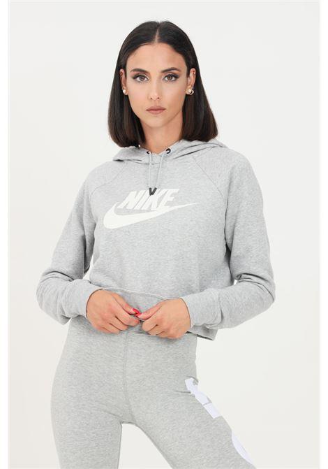 Felpa donna grigio nike con cappuccio taglio crop NIKE | Felpe | CJ6327063