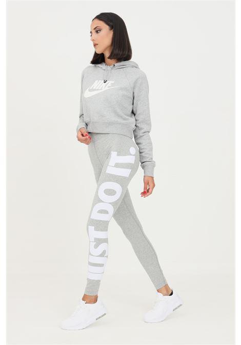 Leggings donna grigio nike con stampa logo laterale NIKE | Leggings | CZ8534063