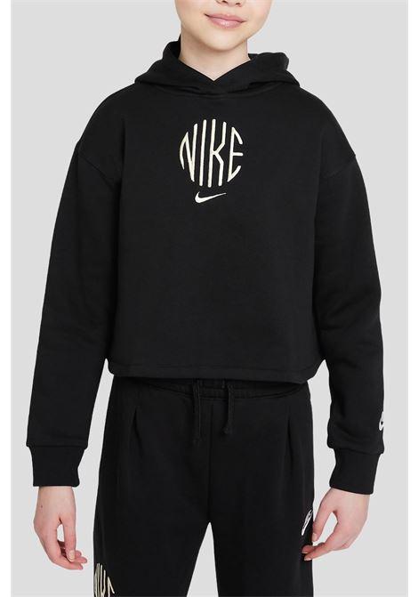 Felpa nike sportswear bambina nero con cappuccio in french NIKE | Felpe | DD6498010