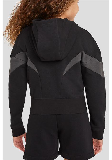 Felpa bambina nero nike con zip e cappuccio NIKE | Felpe | DD7137010
