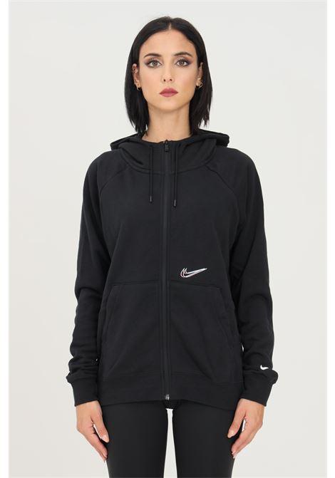 Felpa donna nero nike con zip e cappuccio NIKE | Felpe | DJ4120010