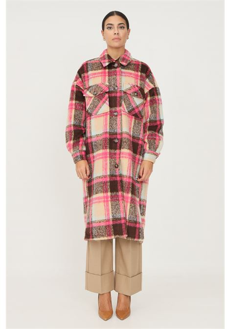 Printed women's coat by only with front pockets ONLY   Coat   15234711NOMAD CHECKS