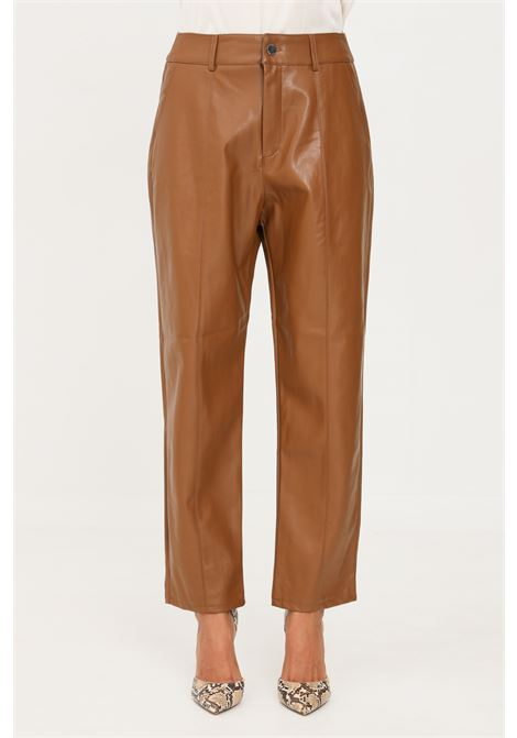 Pantaloni donna marrone only modello casual in similpelle ONLY | Pantaloni | 15235370TOFFEE