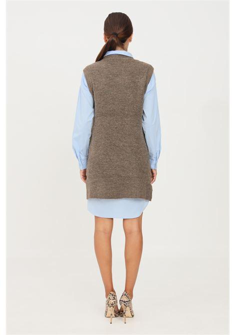 Gilet in maglia da donna verde only taglio midi ONLY | Gilet | 15235961CHESTNUT